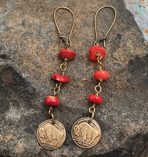 Red Buffalo Bronze Earrings