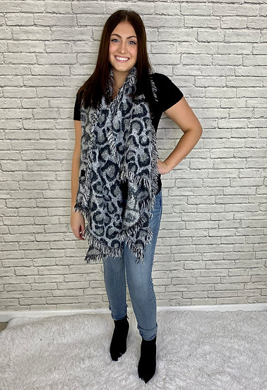 Leopard Print Warm Scarf - Brown or Gray