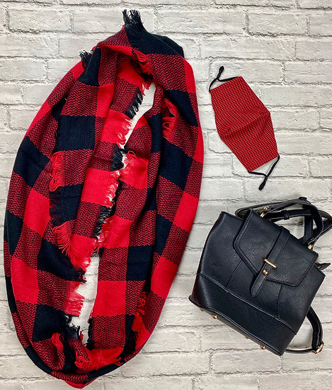 Buffalo Plaid Infinity Scarf - Black/Red or Black/White