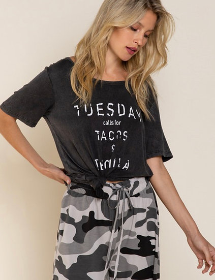 Tuesday Calls For Tacos and Tequila - Black Washed Graphic tee