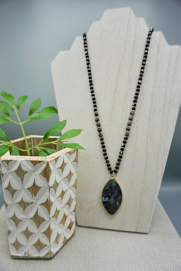 Long Beaded Necklace with Large Stone Pendant