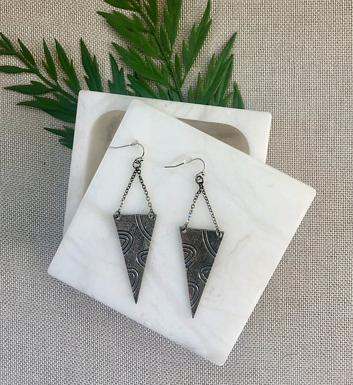 Burnished Silver Triangle Drop Earrings