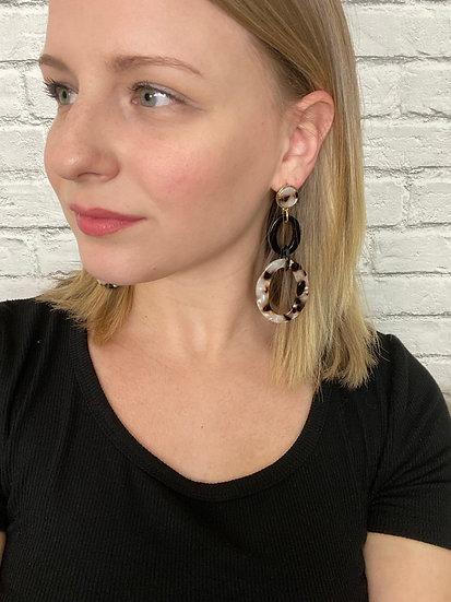 Acrylic Tortoise Linked Loop Dangle Earrings