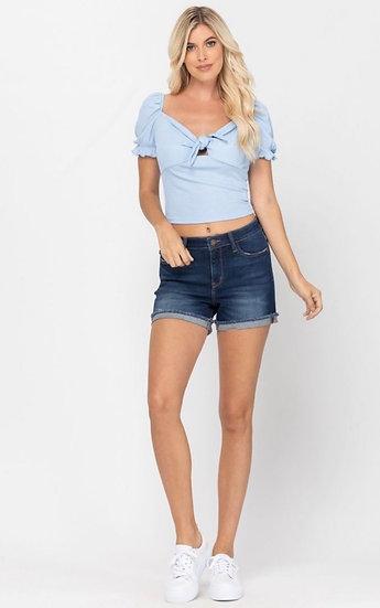 Judy Blue Super Stretch Dark Denim Cuffed Shorts