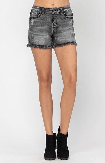 Judy Blue Stretchy Denim Black Frayed Shorts