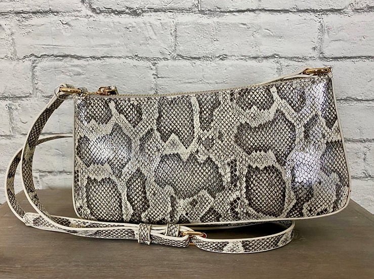 Small Rectangle Faux Pewter Snakeskin Crossbody Bag