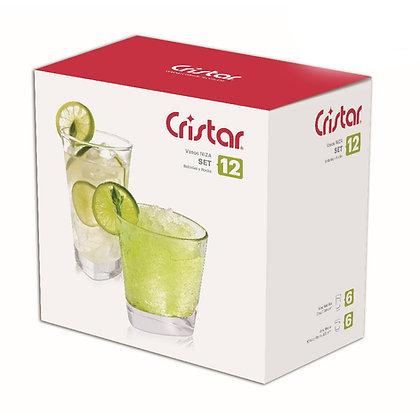 Set De 12 Vasos 12.1 oz (359 ml) / 10.9 oz (325 ml) Niza Cristar