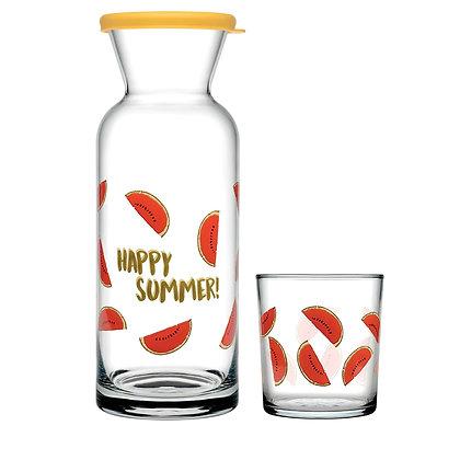 Set De 1 Jarra Con Tapa y 6 Vasos Jungle Happy Summer Pasabahce