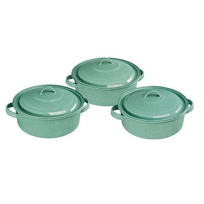 Set De 3 Budineras De Peltre Kiara Verde Jade Cinsa