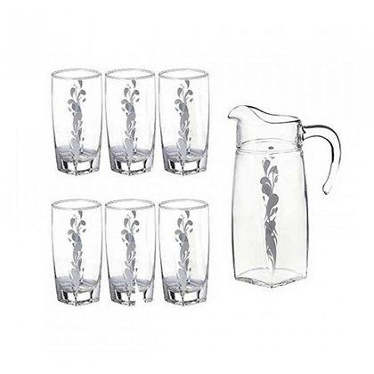Set De 1 Jarra y 6 Vasos Sparkle Silver Luminarc