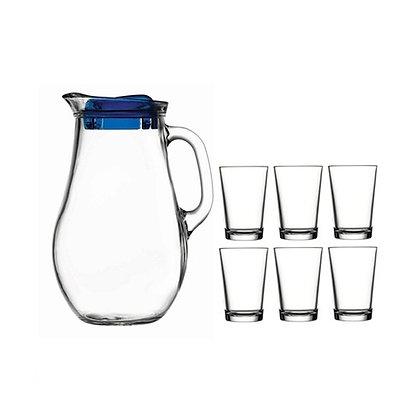 Set De 1 Jarra Con Tapa y 6 Vasos Bistro Pasabahce