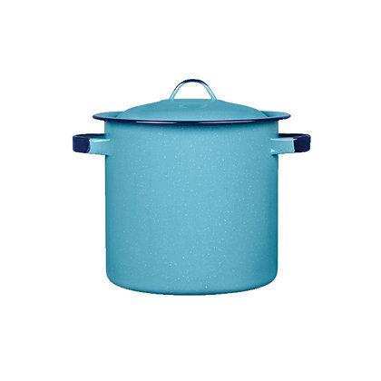 Olla Recta Con Tapa Y Con Oreja De 33 cm Rolada Azul Turqueza Cinsa