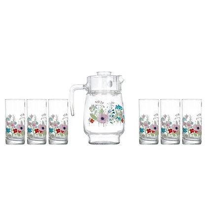 Set De 1 Jarra y 6 Vasos Rose Pompon Luminarc