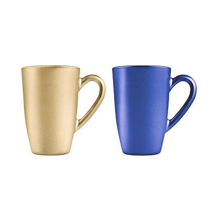 Set De 2 Tarros Para Cafe De 325 ml Aqua Metalic Dorado / Azul Pasabahc