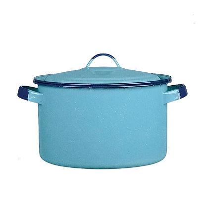 Olla Recta Con Tapa Y Con Oreja De 20 cm Rolada Azul Turqueza Cinsa