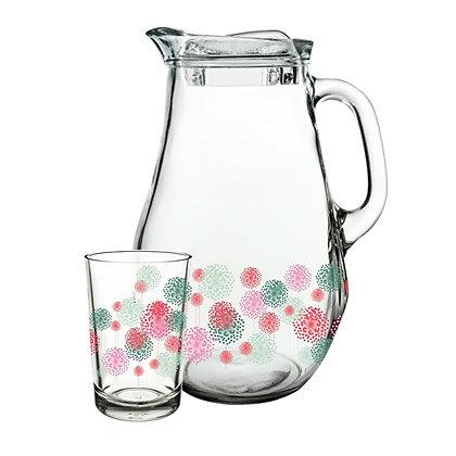Set De 1 Jarra Con Tapa y 6 Vasos Spring Flowers Pasabahce