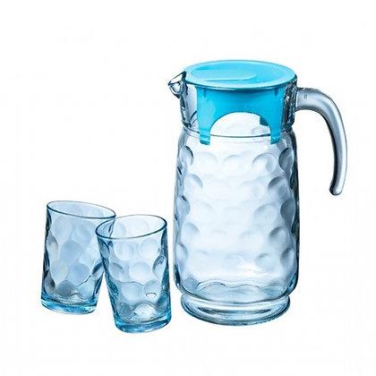 Set De 1 Jarra Con Tapa y 6 Vasos Rings Blue Pasabahce