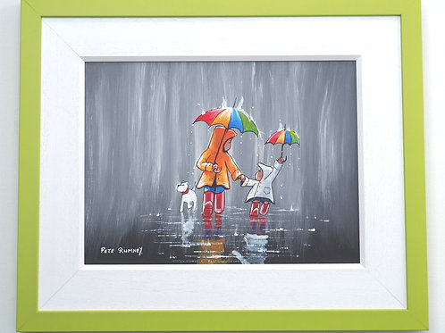 "Adventures In The Rain - Handpainted Original 19x23"" frame included"