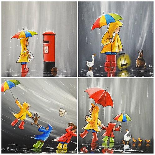 Adventures In The Rain - Pack of 8 blank greetings cards
