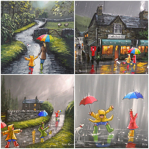 Out And About In The Rain - 8 Quality Greetings Cards (ref: OAR8)