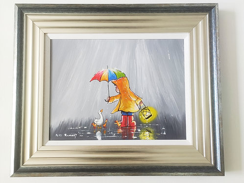 """""""Keep You Safe"""" by Pete Rumney Original Painting 19x23"""" Frame Included"""