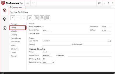 Create an advanced window service - Settings Tab