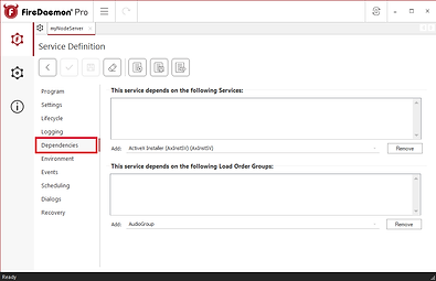 Services your service may have to rely on - Dependencies Tab
