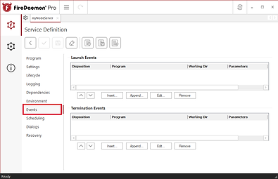 Actions you want to happen before or after a service - Events Tab