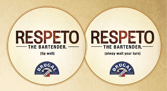 Brugal Rum Respeto ad campaign bar coasters