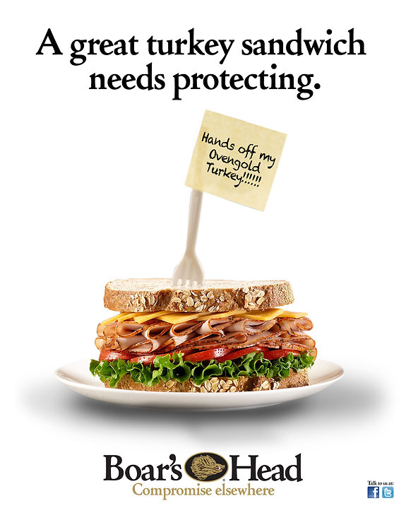 Boar's Head Hands Off My Ovengold Turkey Sandwich Point Of Sale Ad