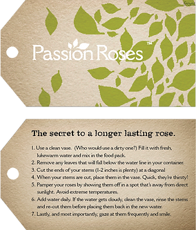 Passion Roses passionroses.com tag packaging design