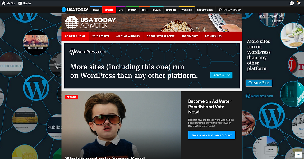 Wordpress Superbowl USA Today digital ad takeover