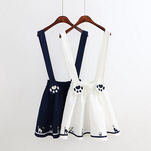 Falda Tirantes Gato / Cat Paws Suspender Skirt WH022
