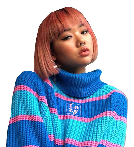 Jersey Azul Rayas / Blue Oversize Turtleneck Pullover WH227