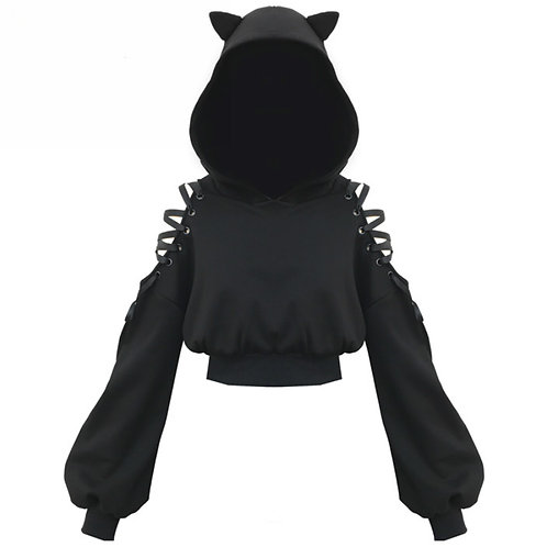 Sudadera Punk Gato Lazo / Lace Up Cat Gothic Hoodie WH510