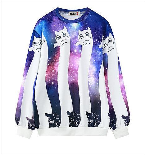 Sudadera Gato Galaxia / Galaxy Cat Sweatshirt WH299