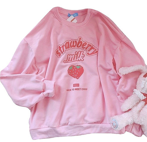 Sudadera Batido Fresa Oversize Strawberry Milk Sweatshirt WH210