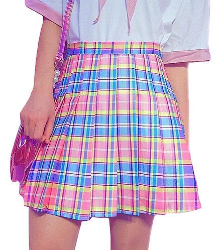Falda Cuadros Arcoiris / Rainbow Pink Pleated Plaid Skirt WH327