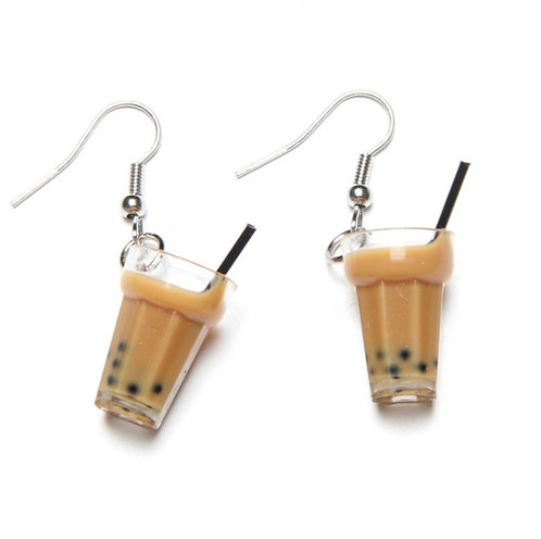 Pendientes Blubble Tea Tapioca Boba Drink Earrings WH384