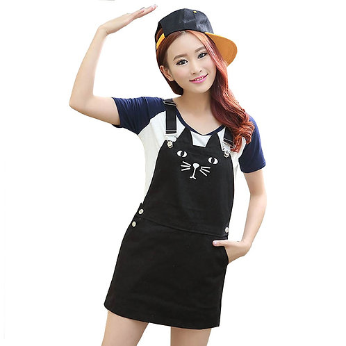 Vestido Vaquero Gato / Cat Suspender Denim Dress WH104