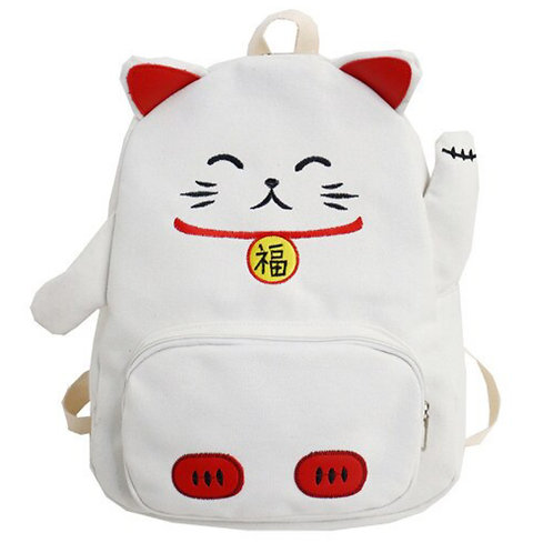 Mochila Bolso Manneki Neko Gato Cerdo Cat Pig Backpack Bag WH160