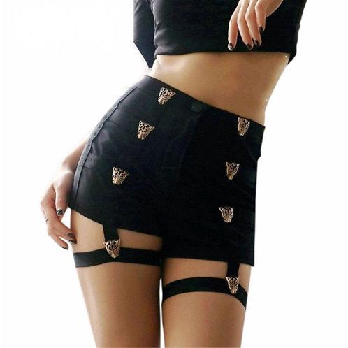Pantalones Cortos Leopardo / Leopard Sexy Black Shorts WH305