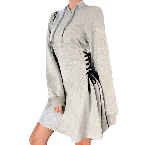 Sudadera Vestido Corsé / Lace Up Hoodie Dress WH425