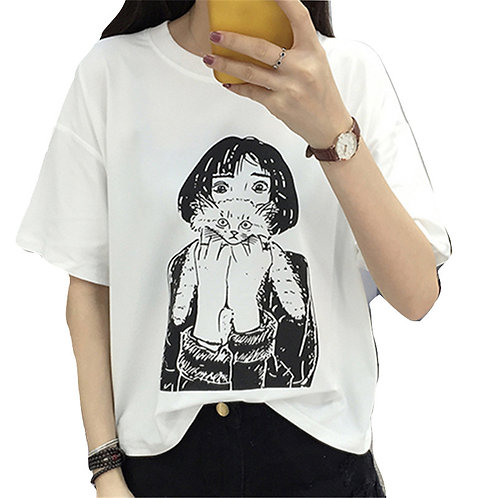 Camiseta Chica con Gato / Girl with Cat T-Shirt WH072