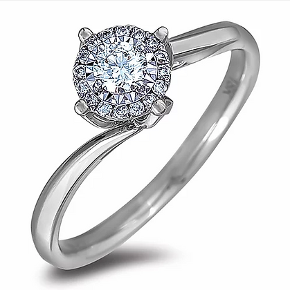 10K White Gold Halo Ring with Canadian Diamonds