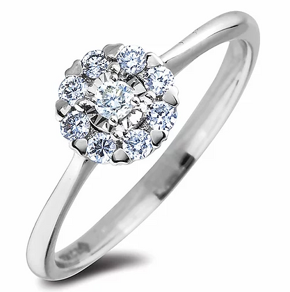10K White Gold Canadian Diamond Ring