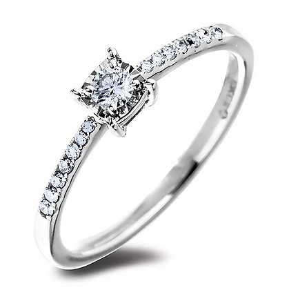 10K White Gold Half-Eternity Ring with Canadian Diamonds