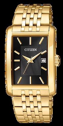 Citizen Men's Quartz Gold-Tone Watch with Tonneau Black Dial | BH1673-50E