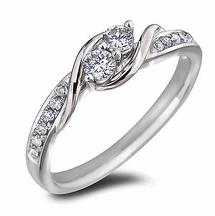 10K White Gold Double Center Canadian Diamond Ring