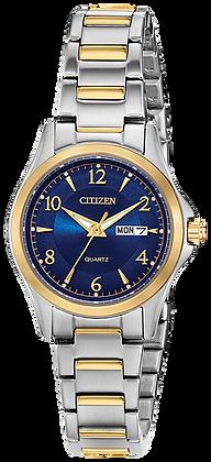 Citizen Woman's Quartz Two Tone Blue Dial Watch | EQ0595-55L